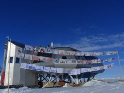 Antarctica Day flags at Princess Elisabeth Station Antarctica