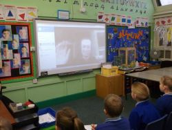 Alexander Mangold speaks to pupils at Findern Primary School