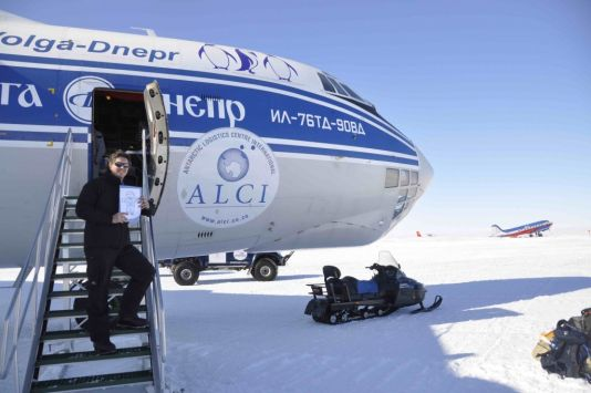 Arrival in Antarctica: Flat Stanley coming out of the Ilyushin plane with Thomas.