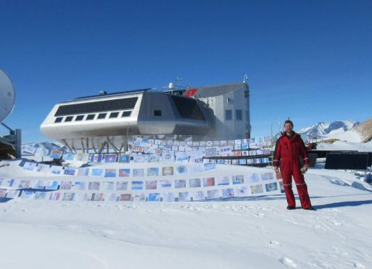 Antarctica Day flags at Princess Elisabeth Station with Johnny Gaelens