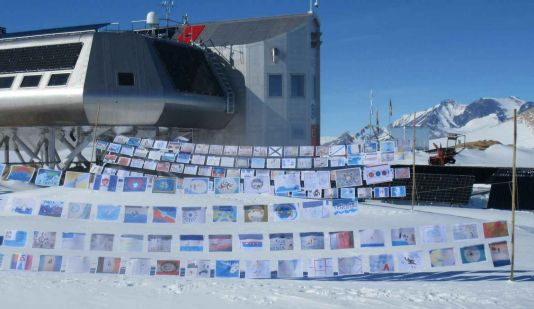 Antarctica Day flags flying at Princess Elisabeth Station