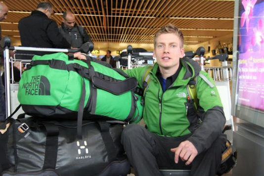 Koen Meirlaen with his baggage at Zaventem Airport, ready to leave for the PEA station