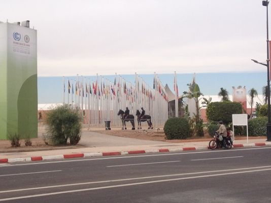 Flags representing the nations at COP22 with horse guards