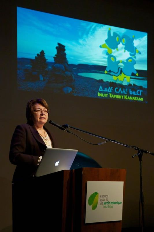 Mary Simon, president of Inuit Tapiriit Kanatami (ITK), giving a presentation. She gave a personal and moving account of her childhood and explained the major milestones in recent Inuit history.