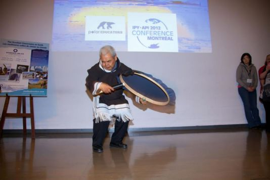 Inuit drum performance.