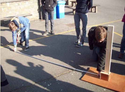 Students of Leiepoort Campus Sint-Hendrik Deinze measure the shadow at their playground.