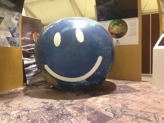 Smiley-faced miniature Earth which was used in the opening ceremony of COP22